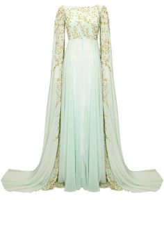 Powder blue embroidered cape hands gown available only at Pernia's Pop-Up Shop.