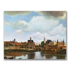 This ready to hang, gallery wrapped art piece features a view of Delft. Jan Vermeer was a Dutch painter who specialized in domestic interior scenes of middle class life. Vermeer was a moderately succe