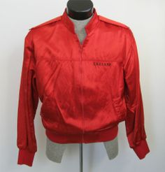 80s Red Satin Jacket L Zip Embroidered Caesar's Bomber Baseball True Vintage