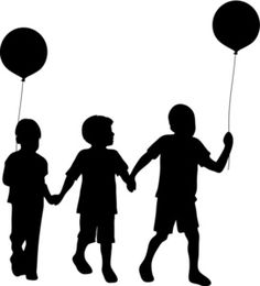 Free Silhouette Children Clip Art Image: Clip Art Silhouette Of A Group Of Young Boys Holding Hands And Balloons