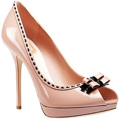 Christian Dior, pale pink platform peep-toe pumps with bows and black stitching