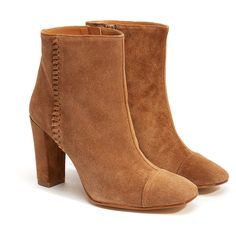 Penelope Chilvers 'Indiana' Tan Suede Ankle Boot ($180) ❤ liked on Polyvore featuring shoes, boots, ankle booties, tan, suede bootie, tan suede boots, block heel booties, suede ankle bootie and high heel booties