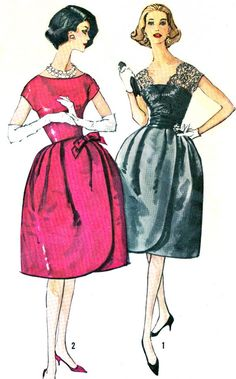 1960s Evening Dress Pattern Simplicity 3699 Full Tulip Skirt Evening Gown Lace Overlay Womens Vintage Sewing Pattern Bust 33 Uncut