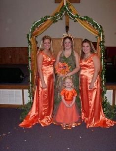 Camo and orange wedding gowns? No way! Redneck wedding alert!
