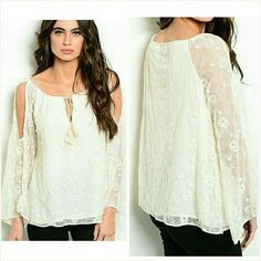 Cold shoulder lace blouse (lined) Small 7/8 Beautiful natural white lace blouse with lining. Size Small. Fits ladies 7/8. Brand new with tag. Boutique Tops Blouses