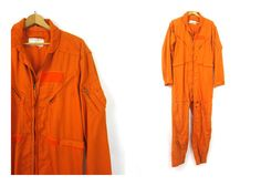 77e98b3de985 Vintage Orange Coveralls Flying Suit Long Sleeve Jumpsuit overalls one  piece Pants Jumper Grunge Indie Romper Size 42 Long
