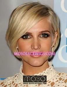 Image detail for -Short Bob hairstyle Ashlee Simpson #24 Blonde Full lace wig Remy human ...