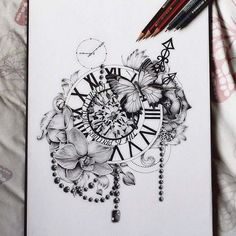 2017 Trend Tattoo Trends - 25 Great Clock Tattoos for Women and Men - diy tattoo images - Tattoo Designs for Women Neue Tattoos, Body Art Tattoos, Tattoo Drawings, Clock Drawings, Pretty Tattoos, Beautiful Tattoos, Cool Tattoos, Beautiful Roses, Tatoo Henna