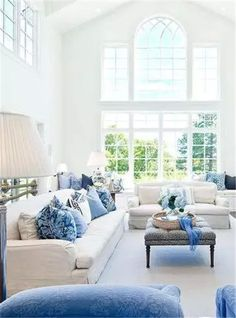 Browse blue living room and family room ideas. Discover design inspiration from a variety of living spaces, including home theaters, sunrooms and more. Blue And White Living Room, Elegant Living Room, Elegant Home Decor, Living Room Grey, Elegant Homes, Living Room Decor Tips, Coastal Living Rooms, Home Living, Living Room Designs