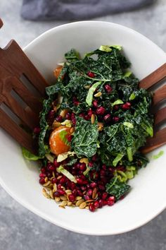 Perfect for a delicious, festive salad for the holidays, this kale salad with pomegranate is studded with citrus, Brussels and pecans. Kale Salad Recipes, Vegetable Recipes, Healthy Recipes, Healthy Food, Savory Salads, Easy Salads, Greek Yogurt Dressing, Vegan Side Dishes, Vegan Comfort Food