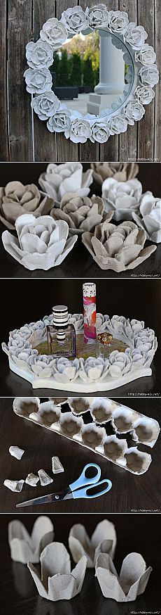 Розы папье-маше из яичных коробок- мастер класс. Варианты декора..
