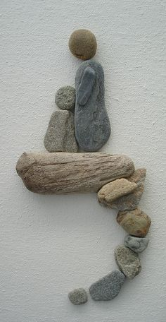 Pebble Art: Pebbles and drift wood on canvas