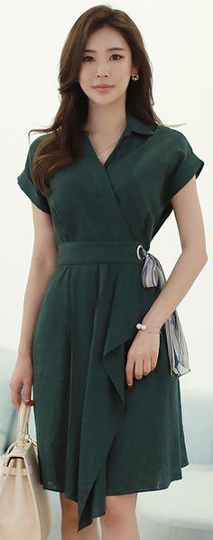 StyleOnme_Chiffon Waist Tie Wrap Style Linen Dress #green #linen #dress #feminine #chiffon #koreanfashion #kstyle #kfashion #seoul #dailylook