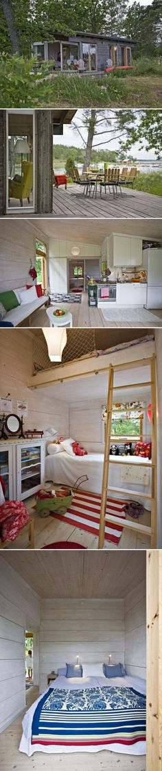 There is no place like a small house design Tiny House Cabin, Tiny House Living, Tiny House Movement, Ideas Terraza, Mini Loft, Cabins And Cottages, Small Places, Tiny Spaces, Small Space Living