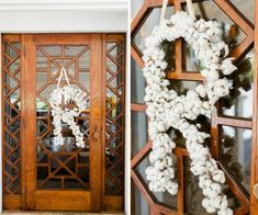 Old Florida Inspired Wedding Reception Decor Initial Wreath of Natural Cotton | Tampa Bay Wedding Planner Glitz Events