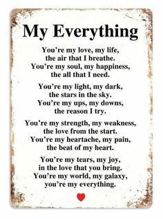 Cute Love Quotes for couples Love is one the most important and powerful thing in this world that keeps us together, lets cherish love and friendship with these famous love quotes and sayings Cute Love Quotes, Soulmate Love Quotes, Love Husband Quotes, Love My Husband, Love Quotes For Her, Romantic Love Quotes, Love Yourself Quotes, True Quotes, You Are My Everything Quotes