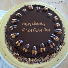 write name on Nuts Birthday Cake For Friend picture