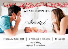We Are Complete  Photo Birth Announcement for Baby Boy or Girl. $12.50, via Etsy.