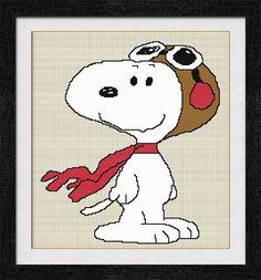 """Gráfico para punto de cruz de """"Snoopy""""."""