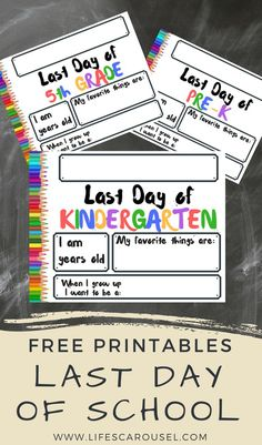 Celebreate the last day of school with these FREE printable signs - Pre-K to Grade. Your last day of school photos will be so much more special! 5th Grade Graduation, Kindergarten Graduation, Kindergarten Learning, Teaching, End Of School Year, School Days, School Stuff, School Signs, School Photos