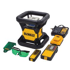DEWALT Lithium-Ion Green Rotary Laser Level is Ideal for deck building, grading and foundations. Features a dual axis slope mode. Garage Atelier, Dewalt Tools, Chisel Set, Cordless Circular Saw, Shop Organization, Impact Driver, Building A Deck, Ac Power, Drill Driver