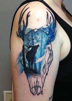 Deer in Night Tattoo