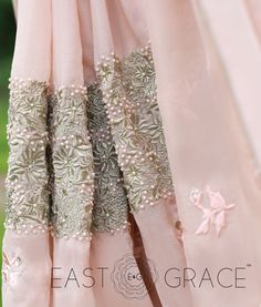 Featuring a blush peach pure silk chiffon saree with tone-on-tone floral embroidery all over the saree and light gold embroidery bands along the bottom of the saree. Light shimmery pearls run along the edge of the saree. PRICE: INR 16,374.00; USD 240.79 To buy click here: https://www.eastandgrace.com/products/peach-sorbet For help reach us at care@eastandgrace.com. With love www.eastandgrace.com