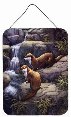 Otters by the Waterfall by Daphne Baxter Wall or Door Hanging Prints BDBA0293DS1216