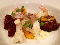 Crawfish cakes, shrimp escabeche, orange, spring onions, ramp mayonnaise