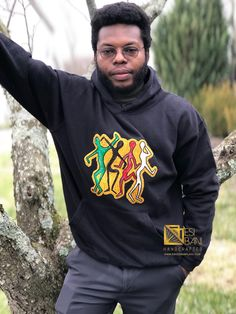 Chill or Snow, just warm your heart and lift your mood with this comfy 100% cotton hoodie that's embellished with free-motion embroidered motifs inspired by African Art. Available in Red or Black, Sizes M - 3XL