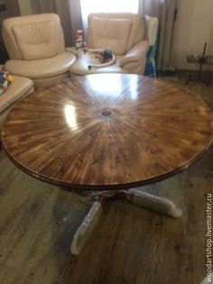 Купить Круглый обеденный стол из массива - коричневый, стол, обеденный стол, Стол из массива
