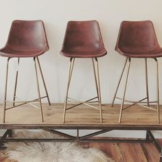 New whip stitch stools offered in the shop.