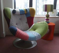 Furniture, Wonderful Coolest Nice Amazing Comfortable Reading Chair With Comfortable Iconic Music Chair Reinvented Colorful Soft Cloth Material With Single Iron Leg ~ Modern and Comfortable Reading Chair Design Funky Furniture, Contemporary Furniture, Plywood Furniture, Painted Furniture, Furniture Design, Patchwork Chair, Patchwork Ideas, Old Sweater, Upcycled Sweater