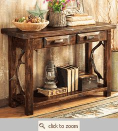 Distressed Sofa Console Table Rustic sofa Wood table and Accent