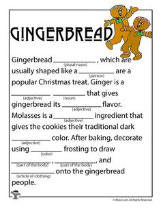 Christmas Gingerbread Mad Libs