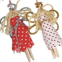 Make Your Own Christmas Angels Dolly Pegs - great craft kit for all ages over six years old! Vintage style christmas decorations
