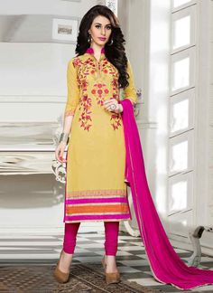 #Yellow And Pink #Cotton Straight Cut #Suit #nikvik  #usa #designer #australia #canada #freeshipping #fashion #dress #suits #sale