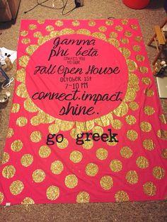 gamma phi beta Greek sorority open house banner