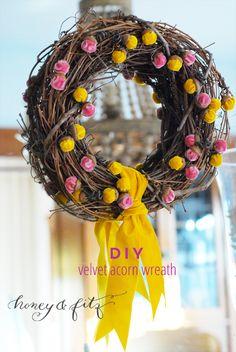 DIY Velvet Acorn Wreath via Honey & Fitz