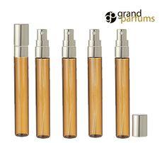 12 LUXURY Long Slim Glass 10ml Amber Perfume by GrandParfums