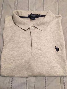 Men's U.S. POLO ASSN. Polo Golf Shirt - Heather Gray  -  Size XXL #USPoloAssn…