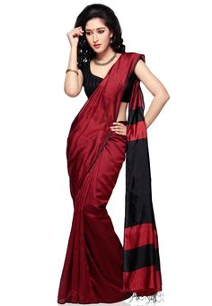 Dark Red Pure Matka Silk Bengal Handloom Saree with Blouse: SABA32