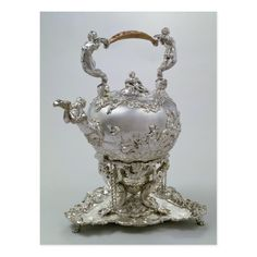 Tea kettle and stand by C.Kandler, London, 1730 | by Charles Kandler | Art Location: Victoria & Albert Museum, London, UK | German Artist | Image Collection Number: BAL17641 Vintage Tea, Vintage Silver, Antique Silver, Chocolate Pots, Chocolate Coffee, Tee Set, Argent Antique, Silver Tea Set, Metal Art