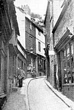 Drury Hill, Nottingham, in the 1920s. This ancient street was swept away by the building of the Broadmarsh Centre in the 1960s.
