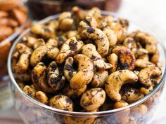 The savory Mediterranean flavors of olive and rosemary make these roasted cashews an addictive snack.