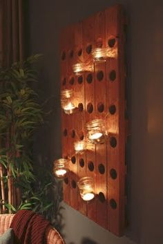 Riddling Rack - for wine storage or decorative lighting. i think i need this in our dining room! Wine Bottle Rack, Wine Racks, Glass Bottle, Wine Bottles, Riddling Rack, Champagne, Hanging Mason Jars, Repurposed Furniture, Light Decorations