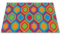 Sitting Hexagons Children's Wall to Wall Carpet
