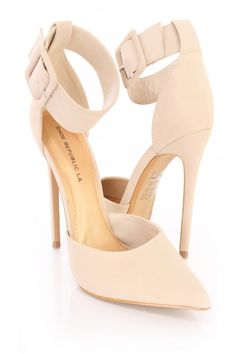 These sexy single sole heels include a nubuck faux leather upper with a pointed closed toe design, thick ankle strap with a side buckle closure, scoop vamp, smooth lining, and cushioned footbed. Approximately 4 inch heels. High Heel Pumps, Stiletto Heels, Shoes Heels, Nude Heels, Ankle Strap Heels, Ankle Straps, Prom Shoes, Fashion Heels, Spring Shoes