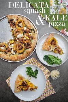 Roasted Delicata Squash Kale Pizza