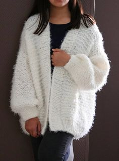 Chunky knit cardigan. Oversized knit sweater. Unisex woolen ...